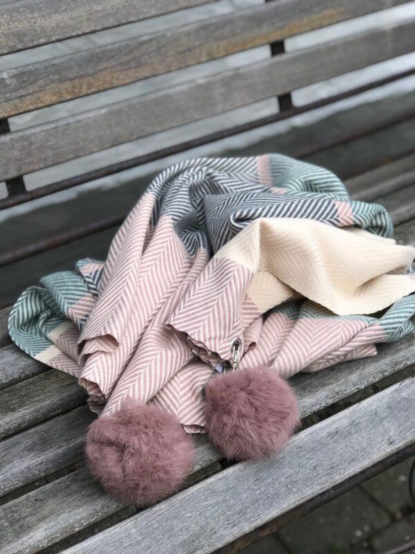 Dot Tørklæde rosa grøn