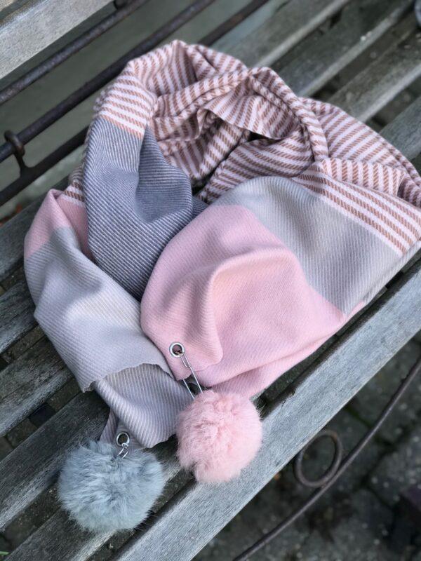 Dot tørklæde rosa