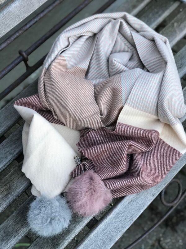 Tørklæde rosa creme